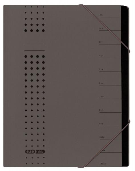 Ordnungsmappe chic, Karton (RC), 450 g/qm, A4, 12 Fächer, anthrazit