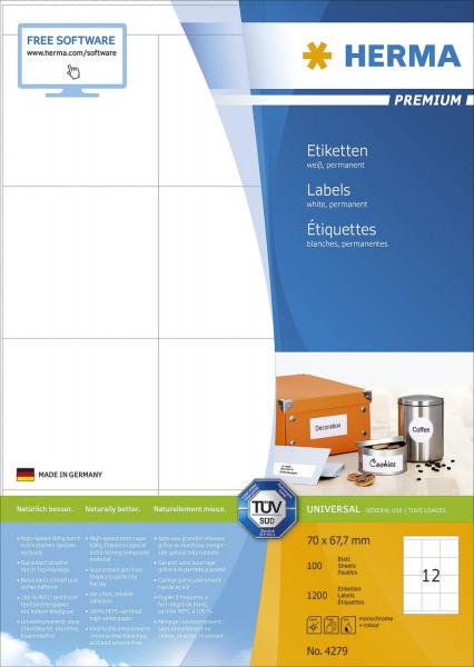 Herma 4279 Etiketten Premium A4, weiß 70x67,7 mm Papier matt 1200 Stück