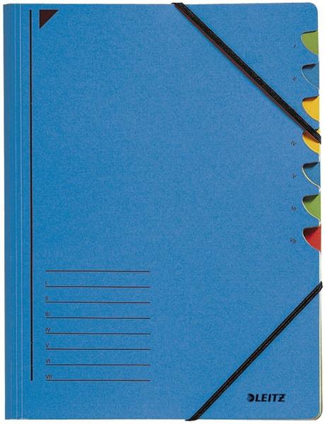 Leitz 3907 Ordnungsmappe, 7 Fächer, blau Colorspankarton