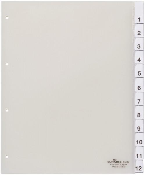 Durable 6835 Register, Hartfolie, blanko, transparent, A4, Überbreite, 12 Blatt