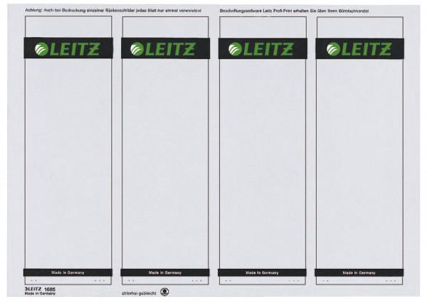Leitz 1685 Rückenschilder kurz/breit,100 Stück, grau