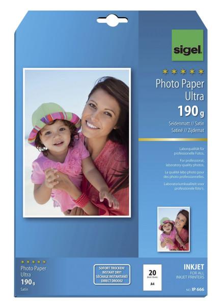 SIGEL IP666 Inkjet Fotopapier Ultra - A4, seidenmatt, 190 g/qm, 20 Blatt