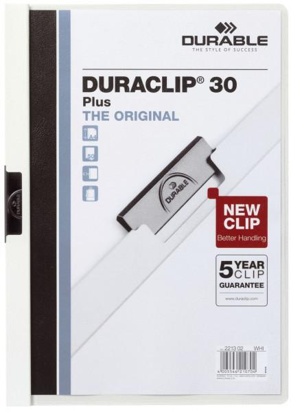 Klemm-Mappe DURACLIP® 30 PLUS, DIN A4, weiß