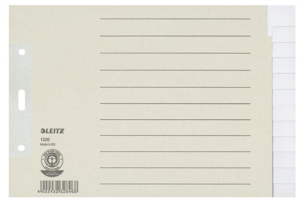 Leitz 1226 Register Tauenpapier, blanko, A5 quer Überbreite, 12 Blatt, grau