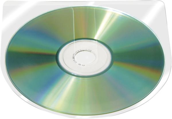 CD/DVD-Hüllen selbstklebend - ohne Lasche, transparent, Packung mit 100 Stück