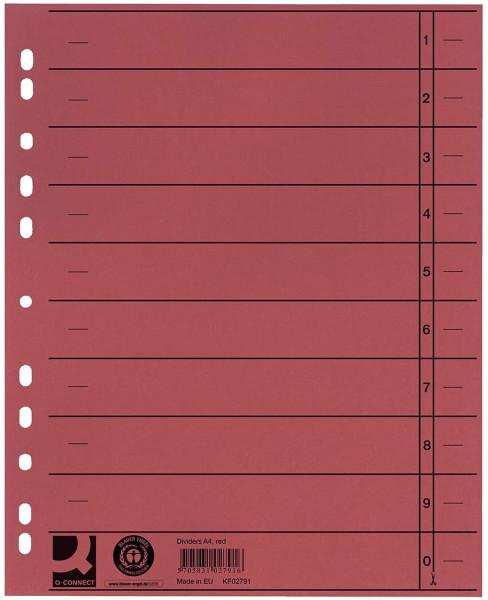 Q-Connect Trennblätter rot, A4, Überbreite, 100 Stück