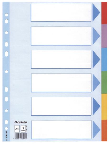 Esselte Register blanko, Karton, A4, 6 Blatt, weiß, farbige Taben