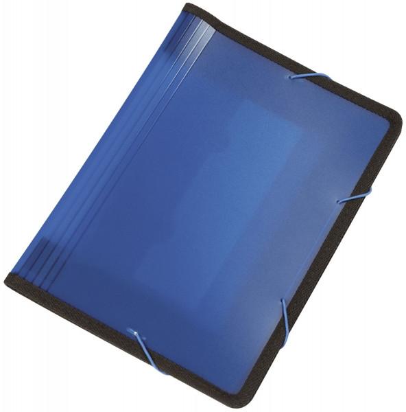 Q-Connect Fächermappe blau PP mit 13 Taschen - transluzente Farben: für 250 Blatt