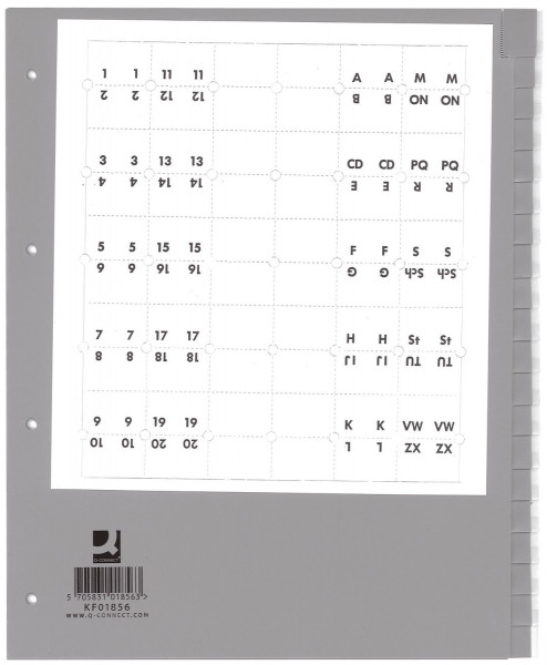 Q-Connect Register blanko, PP, A4 Überbreite, 20 Blatt, grau