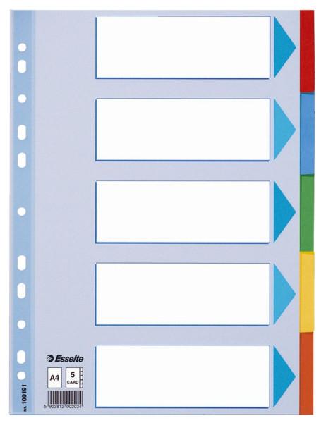 Esselte 100191 Register, blanko, Karton, A4, 5 Blatt, weiß, farbige Taben