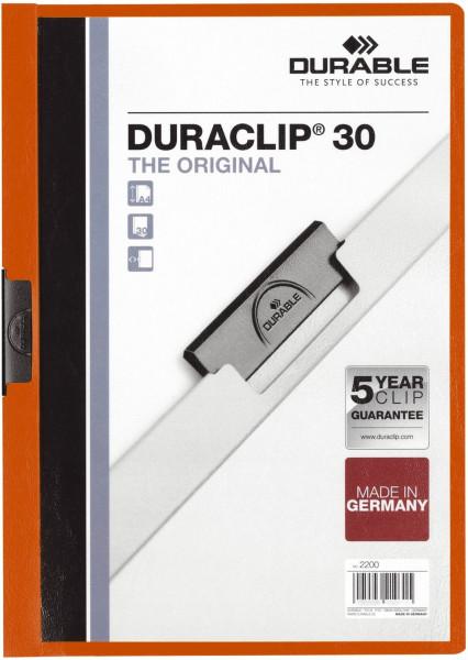 Klemm-Mappe DURACLIP® 30, Hartfolie, bis 30 Blatt, transparent/orange