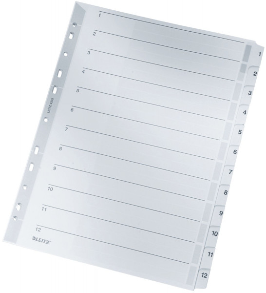 Leitz 4325 Zahlenregister 1-12, A4, Karton, 12 Blatt, grau
