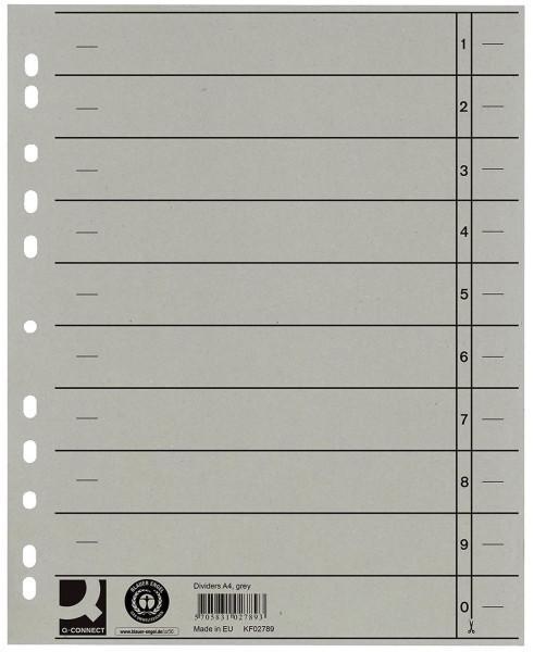 Q-Connect Trennblätter grau, A4, Überbreite, 100 Stück