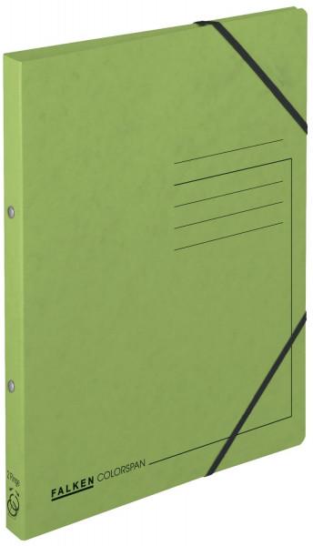 Falken Ringbuch Colorspankarton grün A4, 2-Ring, Gummizug