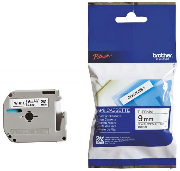 Brother® MK221 BZ Schriftbandkassetten, unlaminiert Größe: 9 mm x 8 m (B x L) schwarz auf weiß
