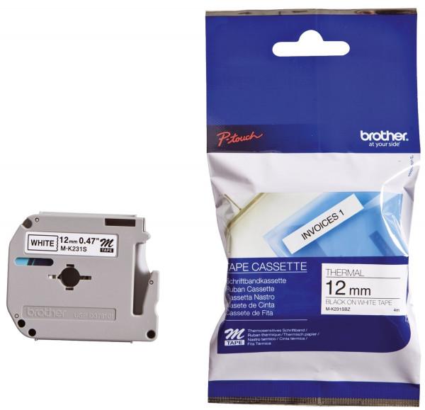 Brother® MK231 BZ Schriftbandkassetten, unlaminiert Größe: 12 mm x 4 m (B x L) schwarz auf weiß