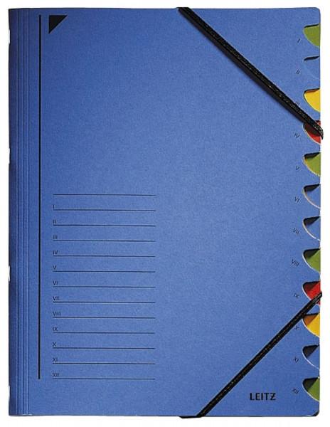 Leitz 3912 Ordnungsmappe, 12 Fächer, blau Colorspankarton