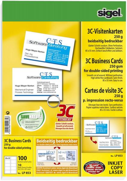 Visitenkarten, 3C, glatter Schnitt rundum, 250 g/qm, hochweiß, 100 Stück