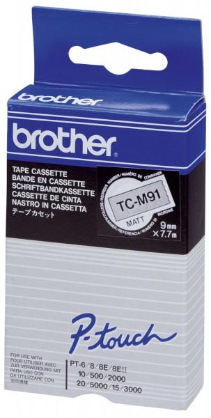 Brother® TC M91 Schriftbandkassetten, laminiert, 9 mm x 7,7 m, schwarz auf farblos matt