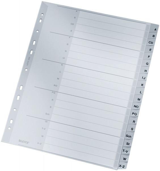Leitz 1260 Register A - Z, PP, A4 Überbreite, 20 Blatt, grau