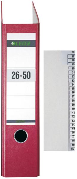 Leitz 1381 Registerserie 26-50, Papier, A4 Überbreite, 25 Blatt, grau