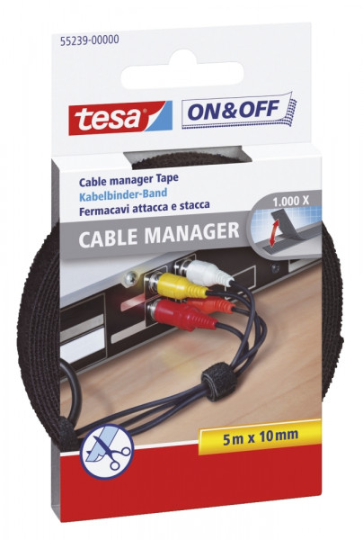 On & Off Cable Manager, 5 m x 10 mm, schwarz, universal
