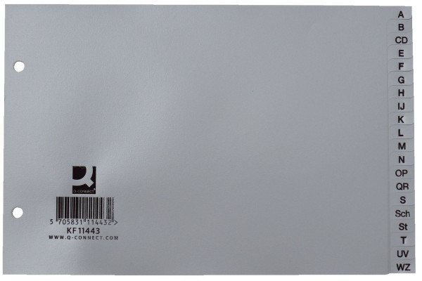 Q-Connect Register A-Z, PP, A5 quer, 20 Blatt, grau, 225x148mm