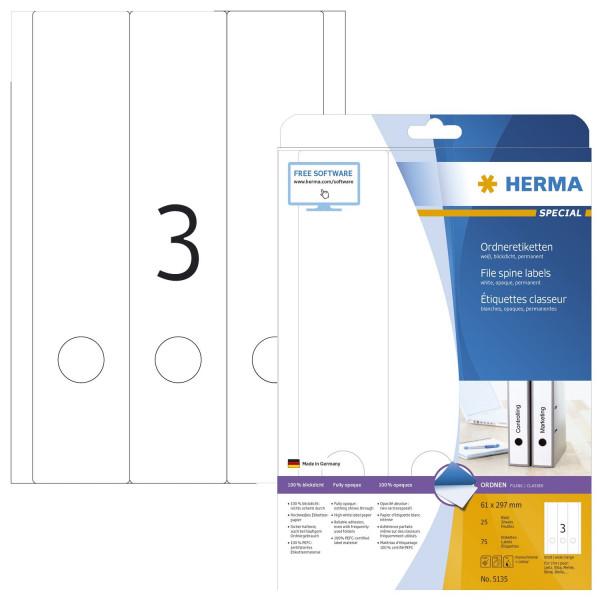 Herma 5135 Rückenschild A4 weiß 61x297 mm Papier matt blickdicht 75 St.