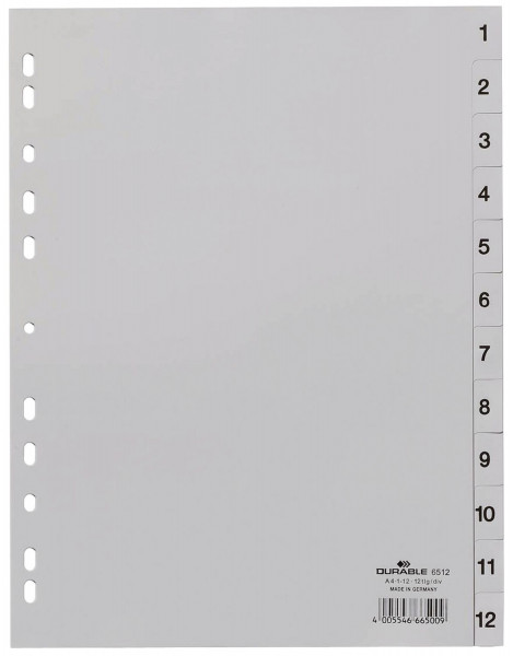 Durable 6512 Zahlenregister 1 - 12, PP grau, A4, 12 Blatt