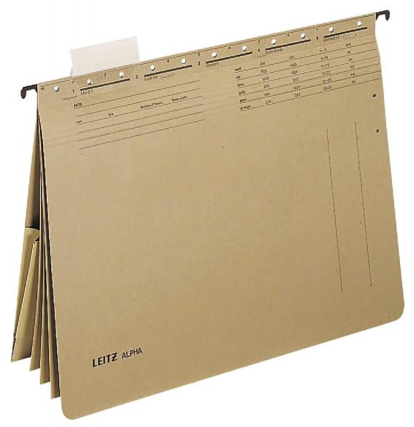 Leitz 1983 Hängehefter ALPHA® mehrfach, 4 kfm. Heftungen, Tasche, Natronkarton, naturbraun
