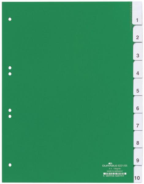 Durable 6221 Register Hartfolie, blanko, grün, A4, 10 Blatt