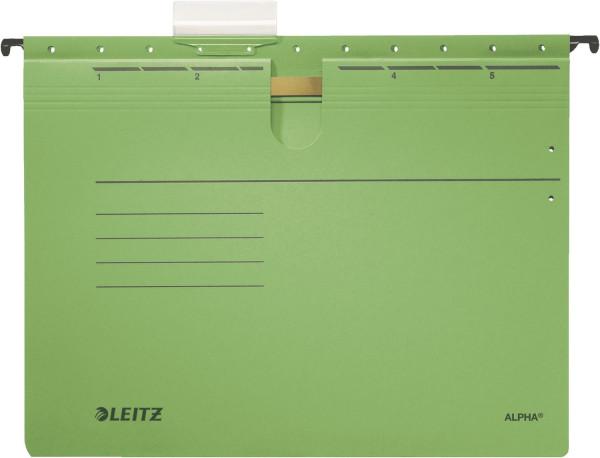 Leitz 1984 grün Hängehefter ALPHA® - kfm. Heftung, Colorspankarton, 5 Stück