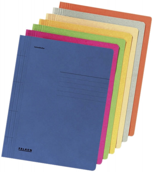 10 Falken Schnellhefter, DIN A4, Manila-RC-Karton, 250g, farbig sortiert, Polybeutel m.10 Stück