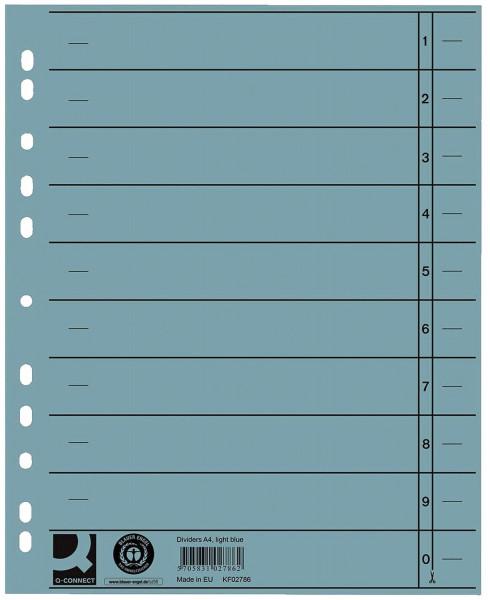 Q-Connect Trennblätter blau, A4, Überbreite, 100 Stück
