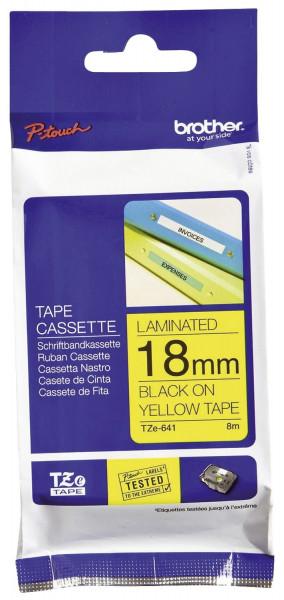 Brother® TZe 641 Schriftbandkassette - laminiert, 18 mm x 8 m, schwarz auf gelb