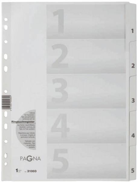 Pagna® Zahlenregister 1 - 5, Karton, A4, 5 Blatt, weiß