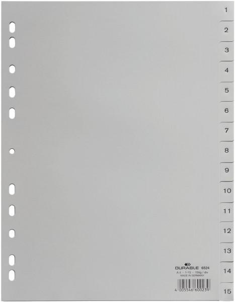 Durable 6524 Register 1 - 15, PP grau, A4, 15 Blatt