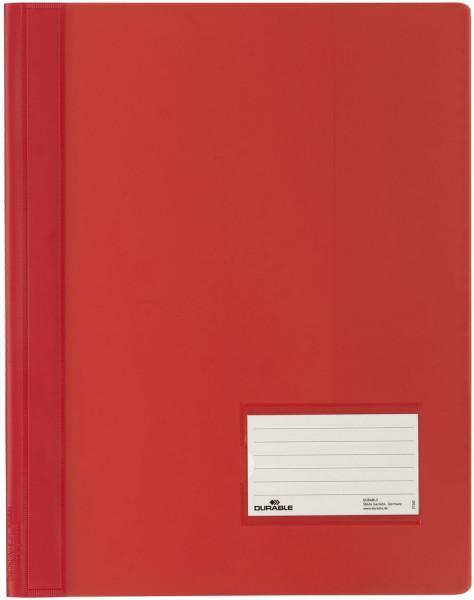 Schnellhefter DURALUX® - transluzente Folie, für A4 überbreit, rot