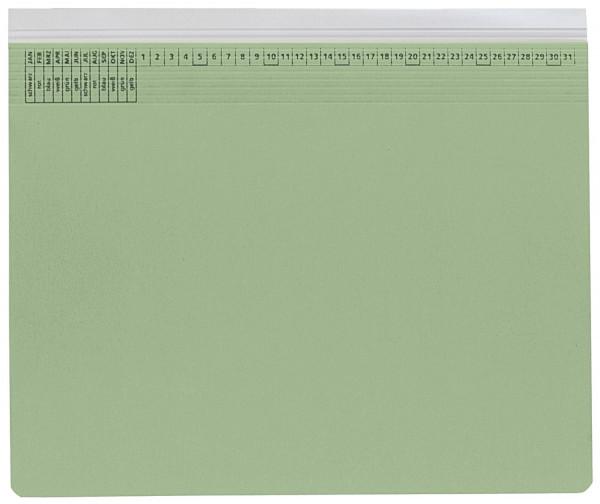Kanzleihefter A gefalzt grün - Rechtsheftung (kaufmännische Heftung), 1 Tasche, 1 Abheftvorrichtung,