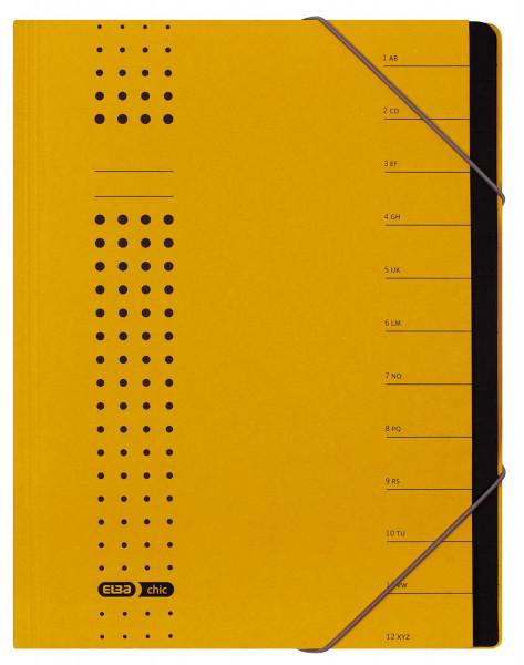 Ordnungsmappe chic, Karton (RC), 450 g/qm, A4, 12 Fächer, gelb