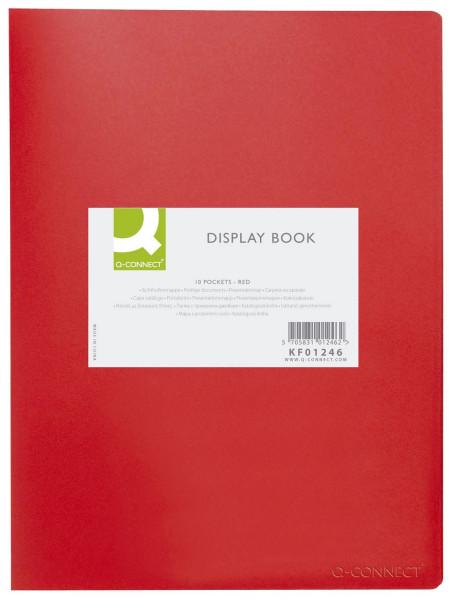 Q-Connect Sichtbuch - rot, 10 Hüllen, Einband PP, 450 mym,
