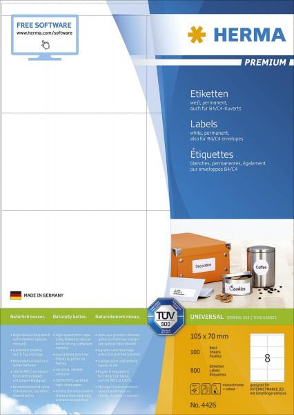 Herma 4426 Etiketten Premium A4, weiß 105x70 mm Papier matt 800 Stück