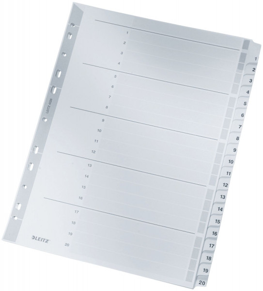 Leitz 4326 Zahlenregister 1-20, A4, Karton, 20 Blatt, grau