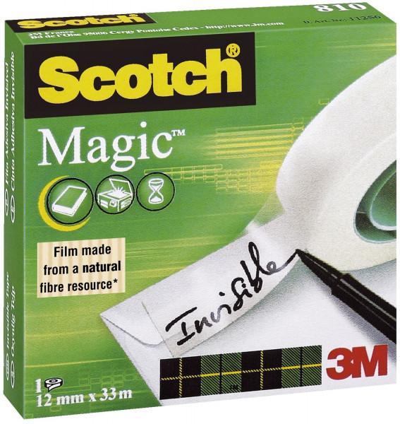 Scotch® Klebeband Magic 810, , 33 m x 12 mm Zellulose Acetat, unsichtbar, beschriftbar