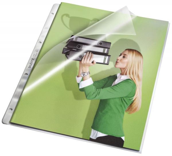 Leitz 4780 Prospekthüllen, A4 oben und Lochseite offen mit Papiereinlage, genarbt 0,13 mm