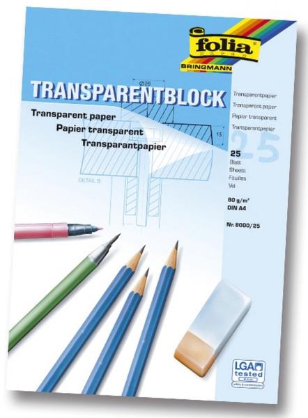Transparentpapier - 80g, A4 Block, 25 Blatt