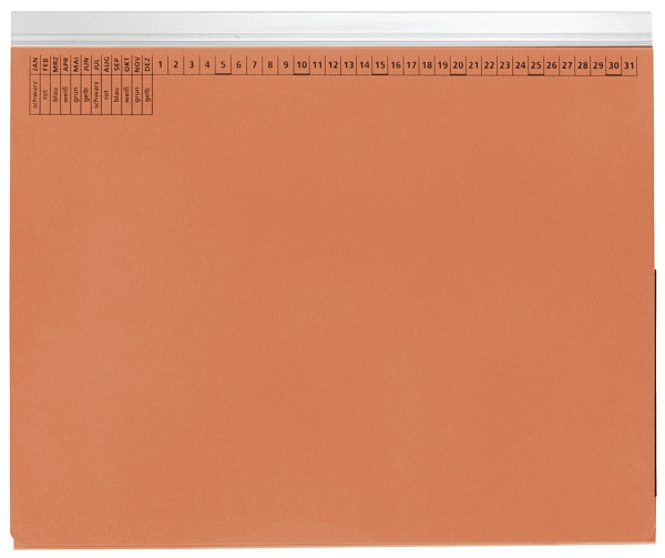 Kanzleihefter A gefalzt orange - Linksheftung (Behördenheftung), 1 Tasche, 1 Abheftvorrichtung,