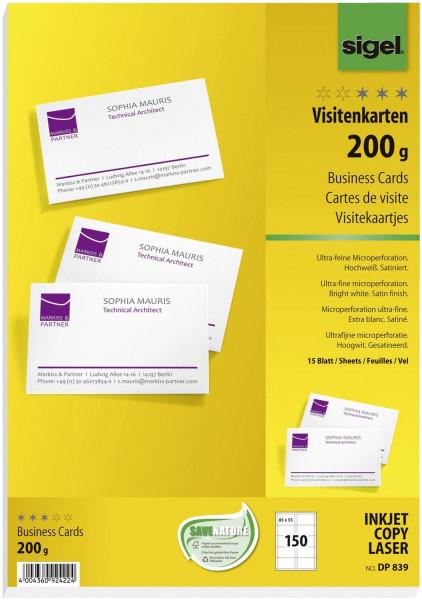 Sigel® DP839 Visitenkarten, satiniert 200 g/qm, hochweiß, 85 x 55 mm 150 Stück