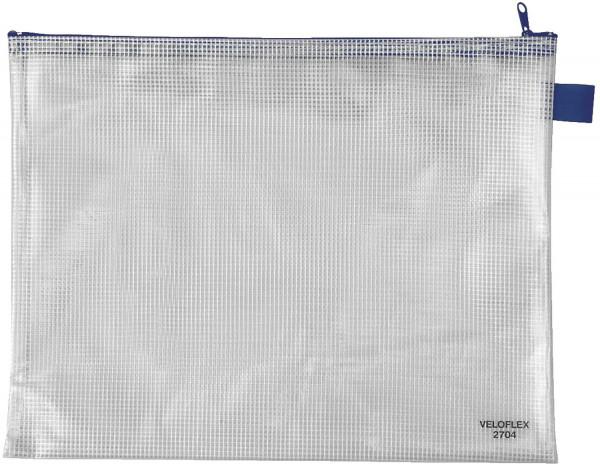 Veloflex® Reißverschlusstaschen - transparent/blau, A4, 355 x 270 mm
