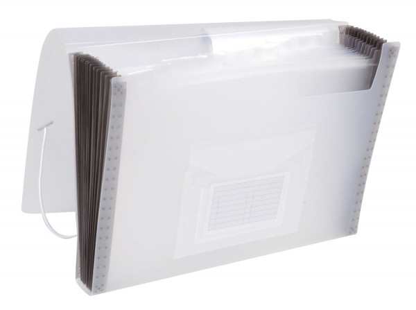 Q-Connect Fächermappe transparent PP mit 13 Taschen - für 250 Blatt